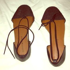 LUCKY BRAND Black Upper Wrap-around Ankle Sandals